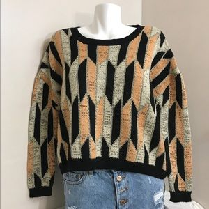 Verty 80's Golden Flakes Chunky Cropped Sweater